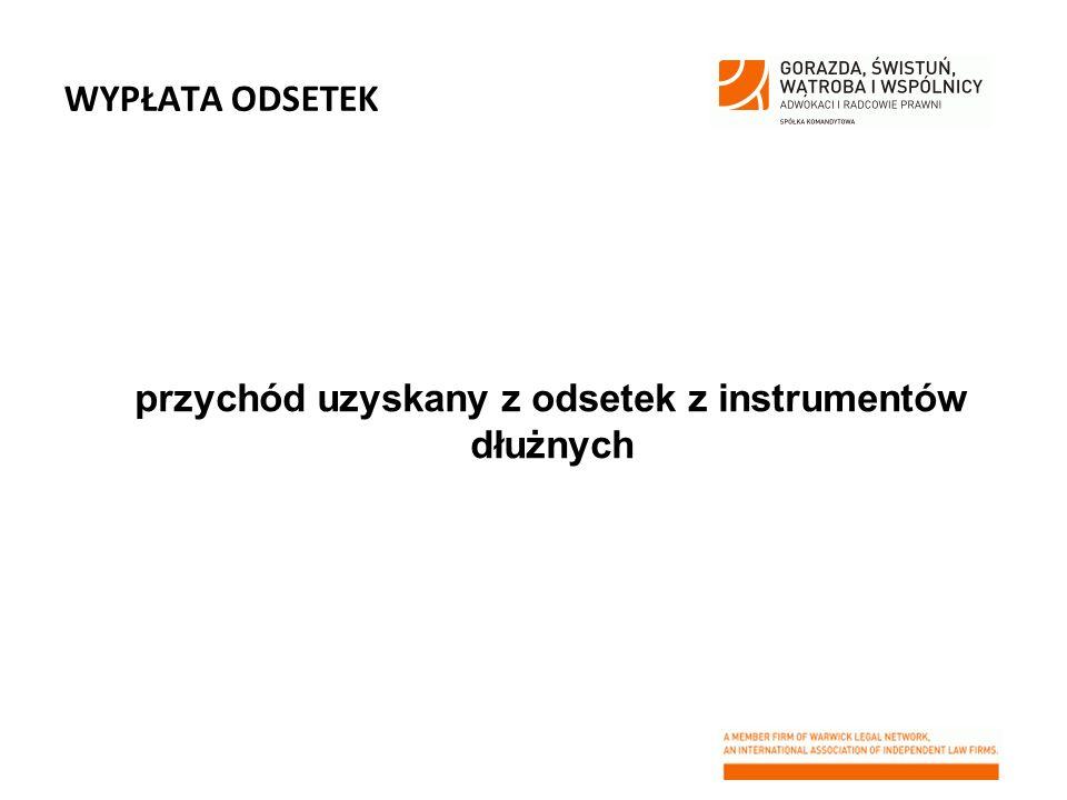 przychód uzyskany z odsetek z instrumentów dłużnych