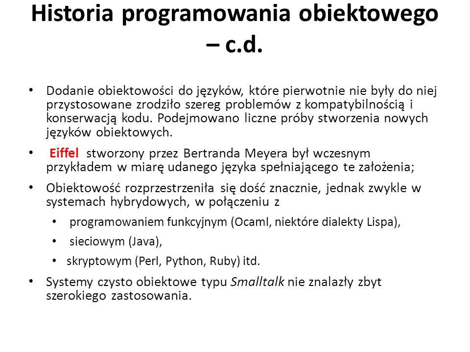 Historia programowania obiektowego – c.d.