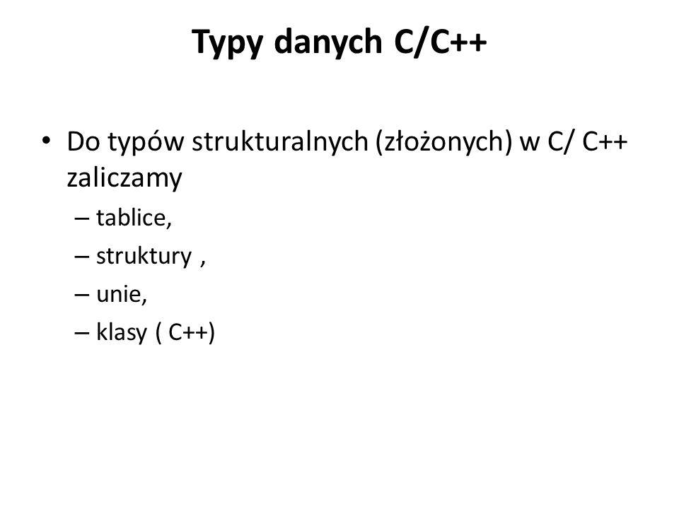 Typy danych C/C++ Do typów strukturalnych (złożonych) w C/ C++ zaliczamy. tablice, struktury , unie,