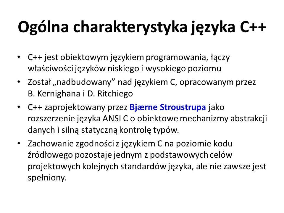 Ogólna charakterystyka języka C++