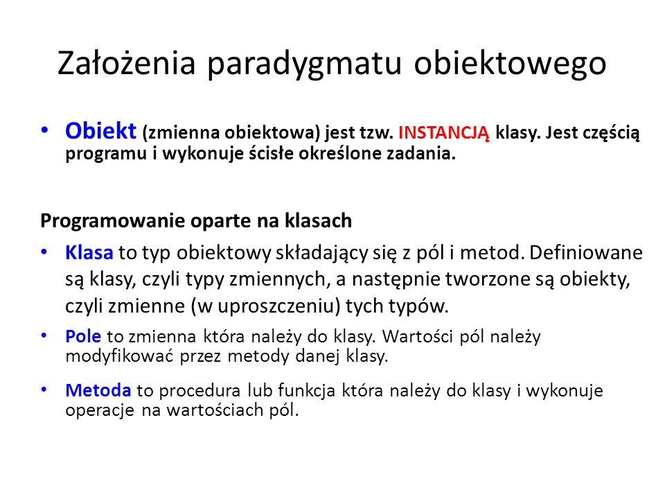 Założenia paradygmatu obiektowego