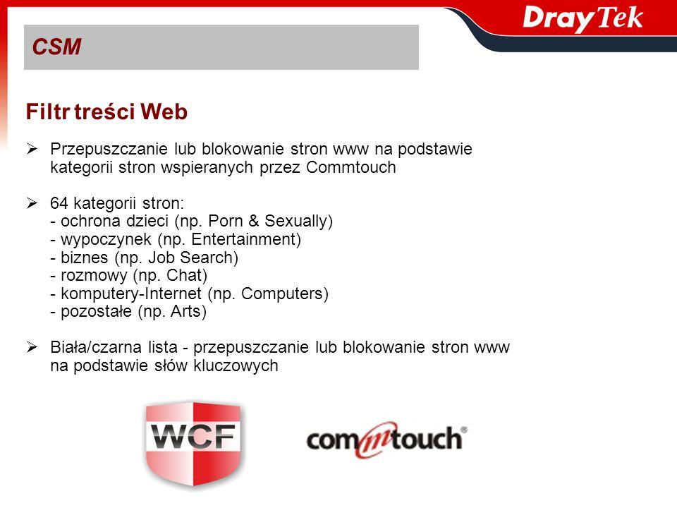 CSMFiltr treści Web. Przepuszczanie lub blokowanie stron www na podstawie. kategorii stron wspieranych przez Commtouch.