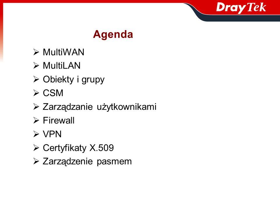 Agenda MultiWAN MultiLAN Obiekty i grupy CSM Zarządzanie użytkownikami