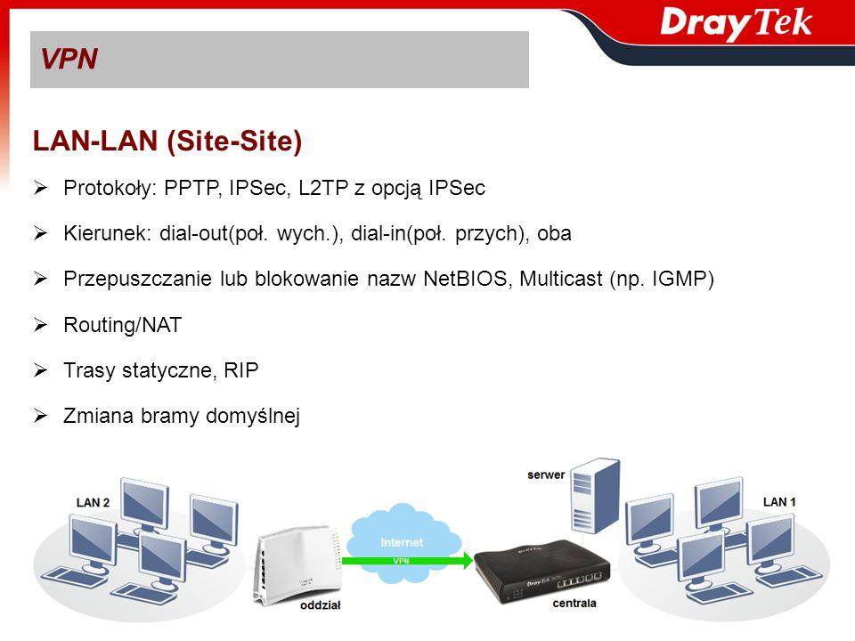 VPN LAN-LAN (Site-Site) Protokoły: PPTP, IPSec, L2TP z opcją IPSec