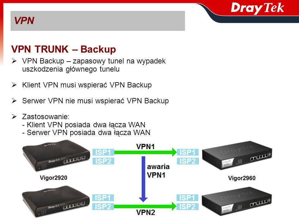 VPN VPN TRUNK – Backup VPN Backup – zapasowy tunel na wypadek