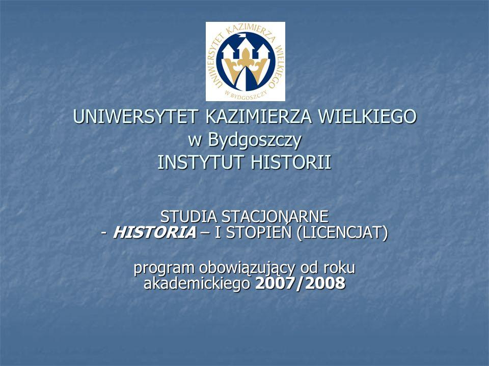 UNIWERSYTET KAZIMIERZA WIELKIEGO w Bydgoszczy INSTYTUT HISTORII