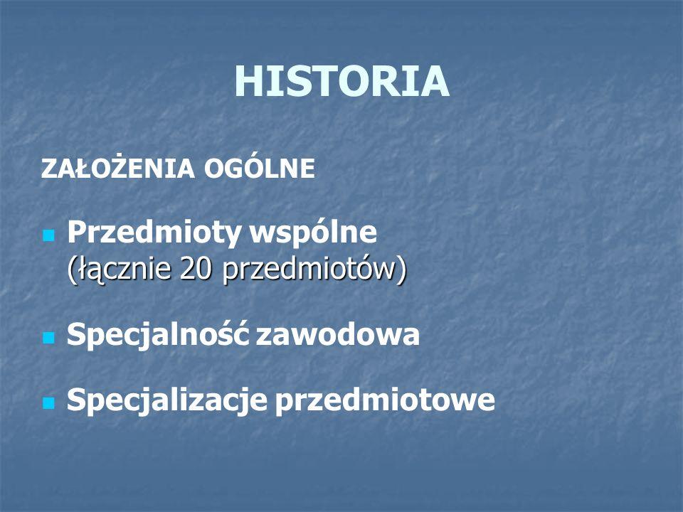 HISTORIA Przedmioty wspólne (łącznie 20 przedmiotów)