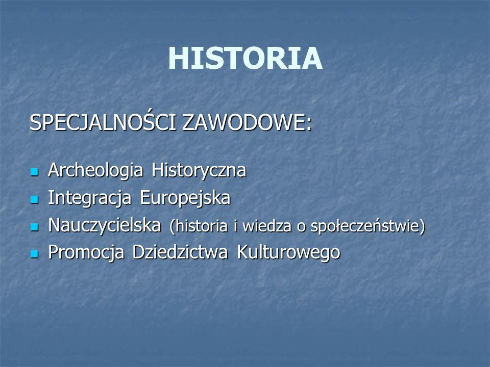 HISTORIA SPECJALNOŚCI ZAWODOWE: Archeologia Historyczna