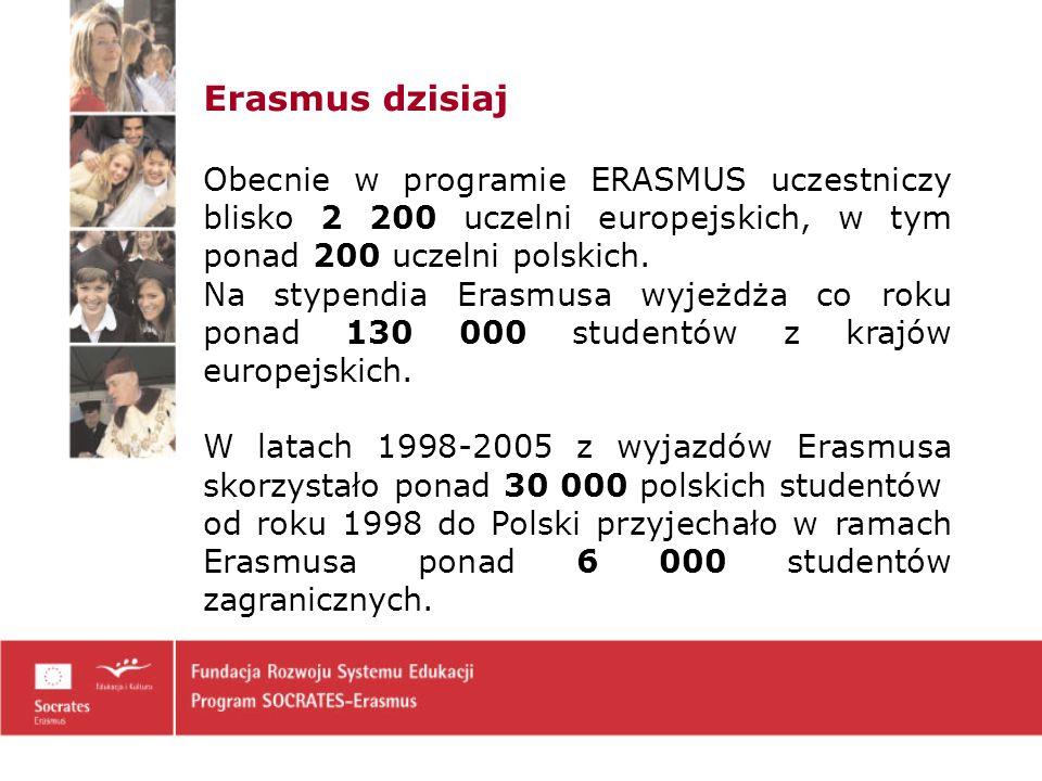 Erasmus dzisiaj Obecnie w programie ERASMUS uczestniczy blisko 2 200 uczelni europejskich, w tym ponad 200 uczelni polskich.