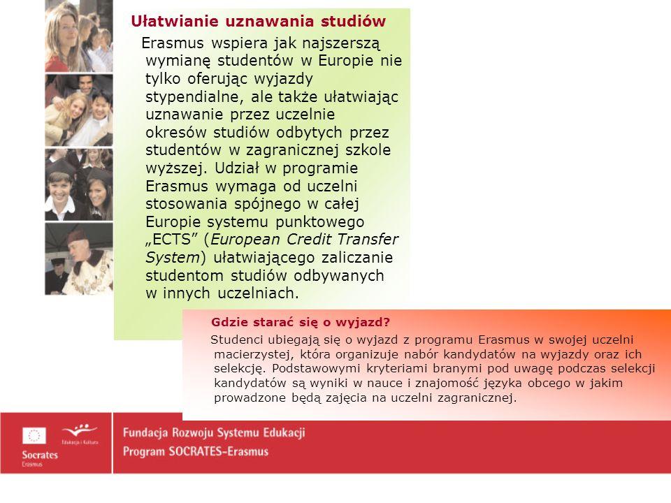"""Ułatwianie uznawania studiów Erasmus wspiera jak najszerszą wymianę studentów w Europie nie tylko oferując wyjazdy stypendialne, ale także ułatwiając uznawanie przez uczelnie okresów studiów odbytych przez studentów w zagranicznej szkole wyższej. Udział w programie Erasmus wymaga od uczelni stosowania spójnego w całej Europie systemu punktowego """"ECTS (European Credit Transfer System) ułatwiającego zaliczanie studentom studiów odbywanych w innych uczelniach."""