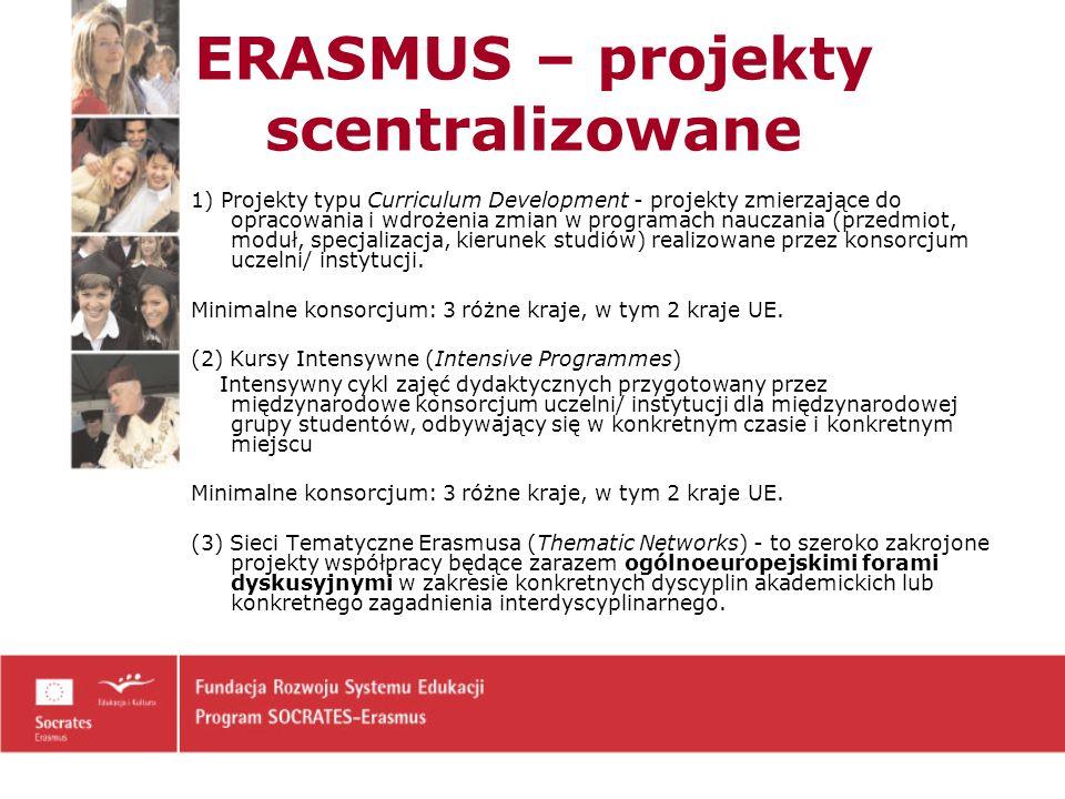 ERASMUS – projekty scentralizowane