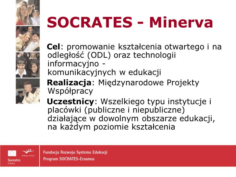 SOCRATES - Minerva Cel: promowanie kształcenia otwartego i na odległość (ODL) oraz technologii informacyjno - komunikacyjnych w edukacji.