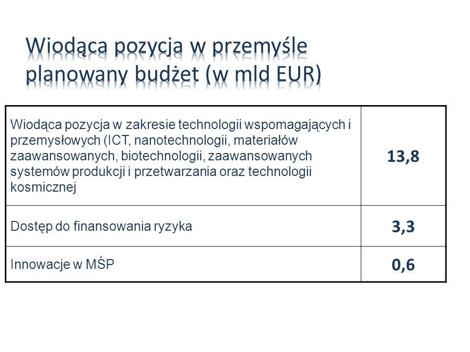 Wiodąca pozycja w przemyśle planowany budżet (w mld EUR)