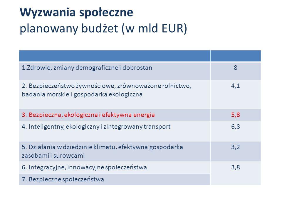 Wyzwania społeczne planowany budżet (w mld EUR)
