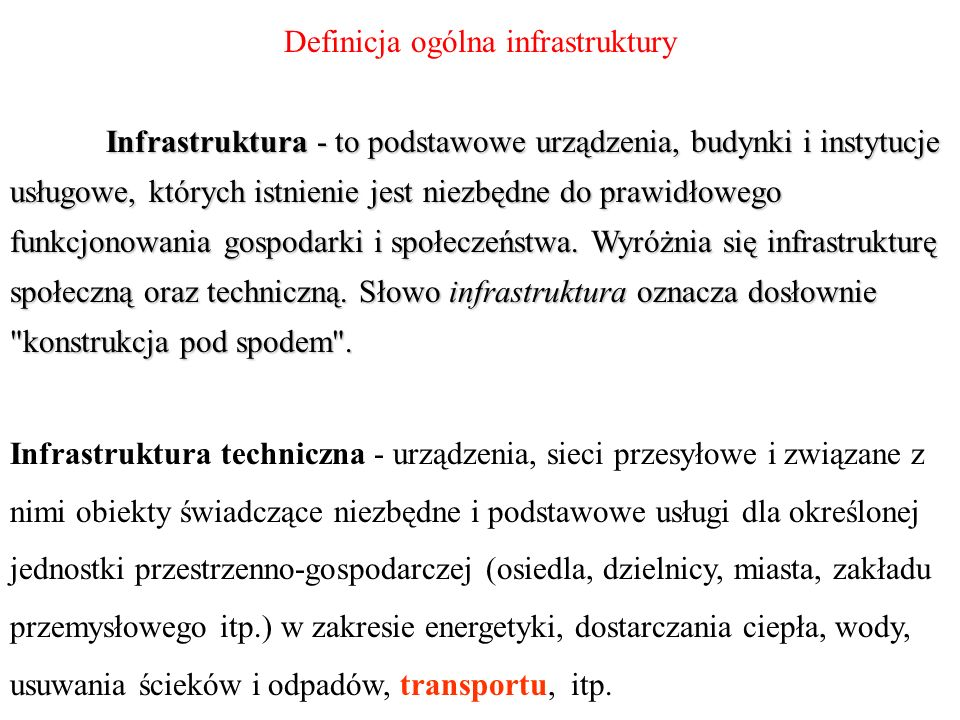 Definicja ogólna infrastruktury