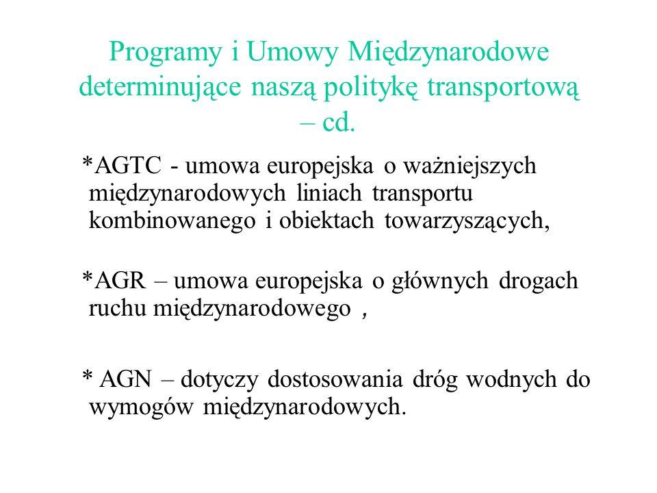 Programy i Umowy Międzynarodowe determinujące naszą politykę transportową – cd.