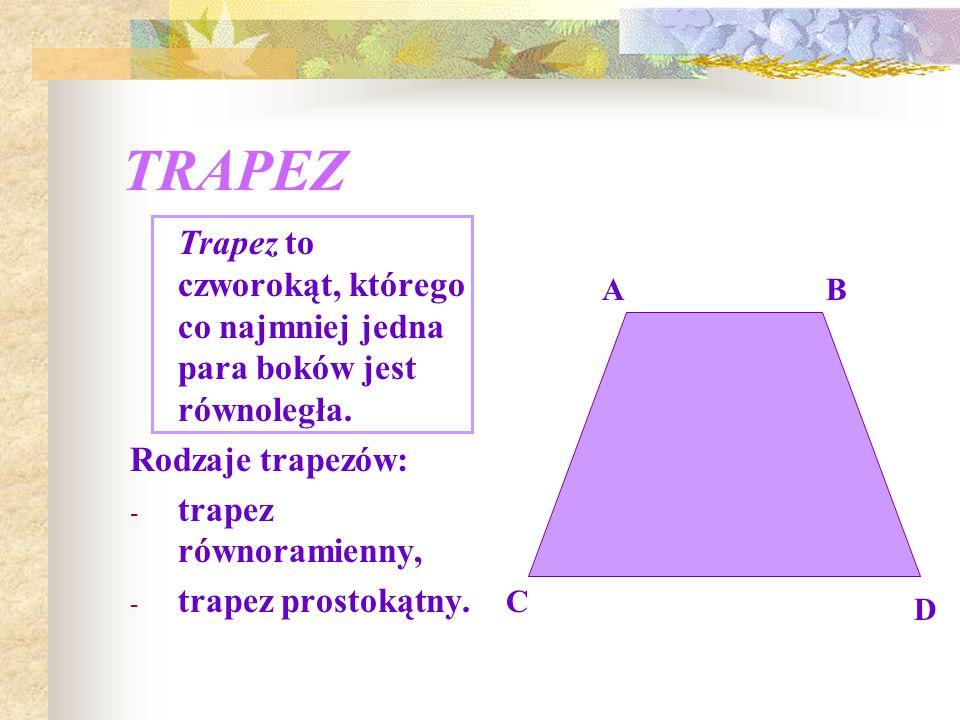TRAPEZ Trapez to czworokąt, którego co najmniej jedna para boków jest równoległa. Rodzaje trapezów: