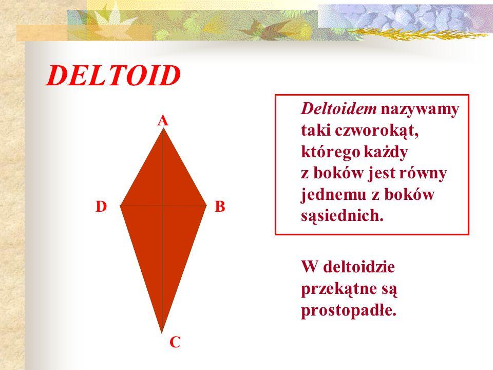 DELTOIDDeltoidem nazywamy taki czworokąt, którego każdy z boków jest równy jednemu z boków sąsiednich.