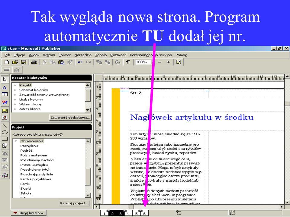 Tak wygląda nowa strona. Program automatycznie TU dodał jej nr.