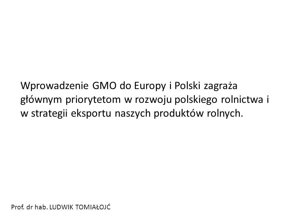 Wprowadzenie GMO do Europy i Polski zagraża głównym priorytetom w rozwoju polskiego rolnictwa i w strategii eksportu naszych produktów rolnych.