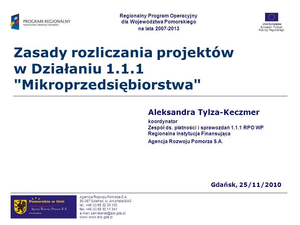 Zasady rozliczania projektów w Działaniu 1.1.1 Mikroprzedsiębiorstwa