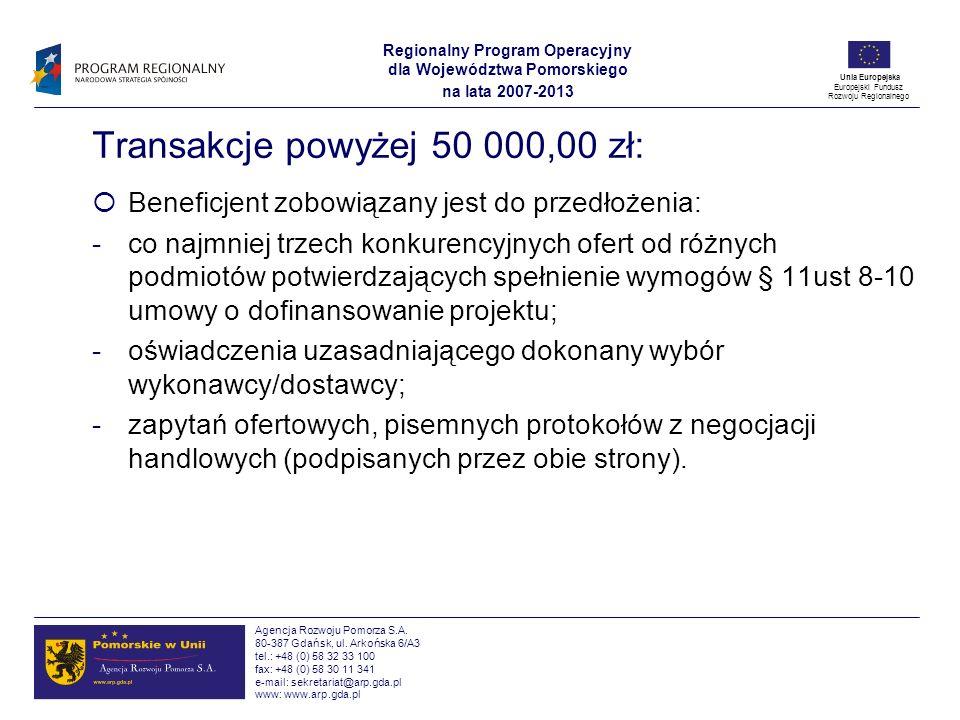 Transakcje powyżej 50 000,00 zł: