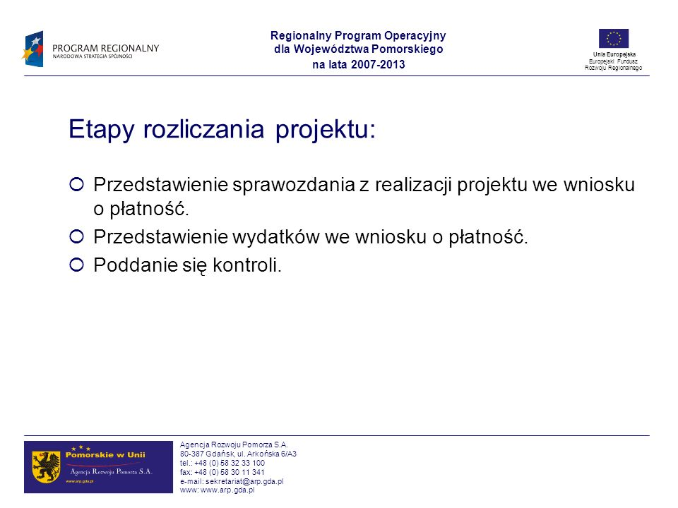 Etapy rozliczania projektu: