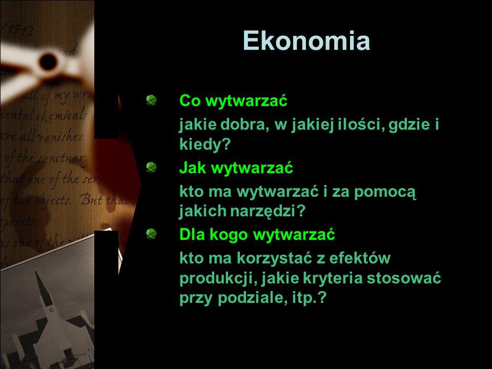 Ekonomia Co wytwarzać jakie dobra, w jakiej ilości, gdzie i kiedy