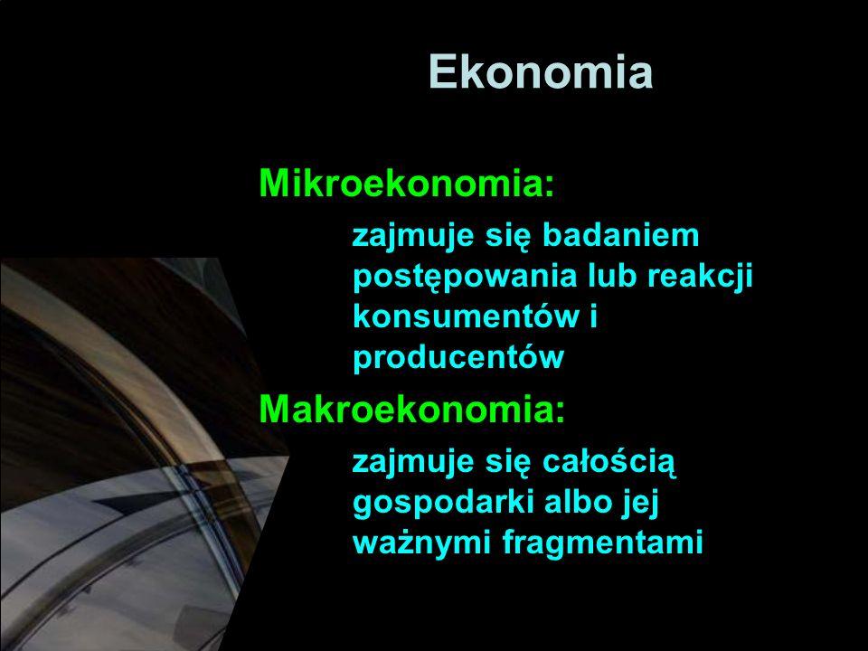 Ekonomia Mikroekonomia: Makroekonomia: