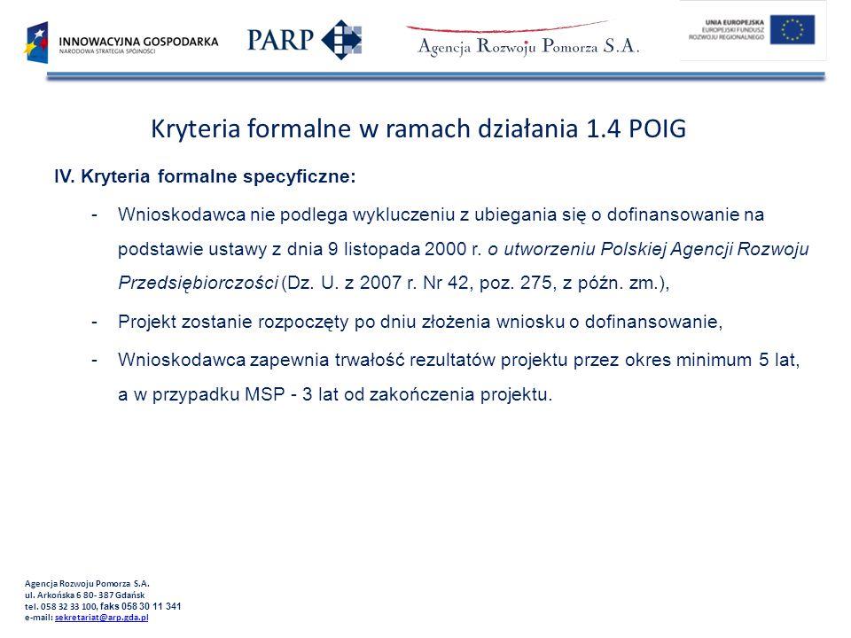 Kryteria formalne w ramach działania 1.4 POIG