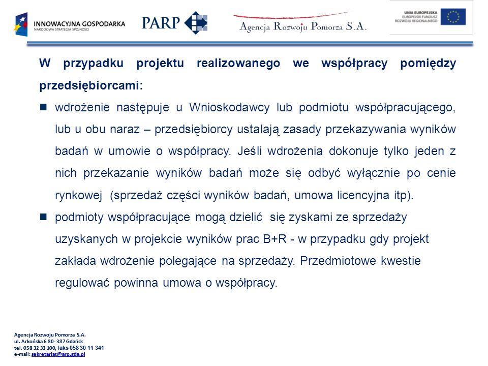 W przypadku projektu realizowanego we współpracy pomiędzy przedsiębiorcami: