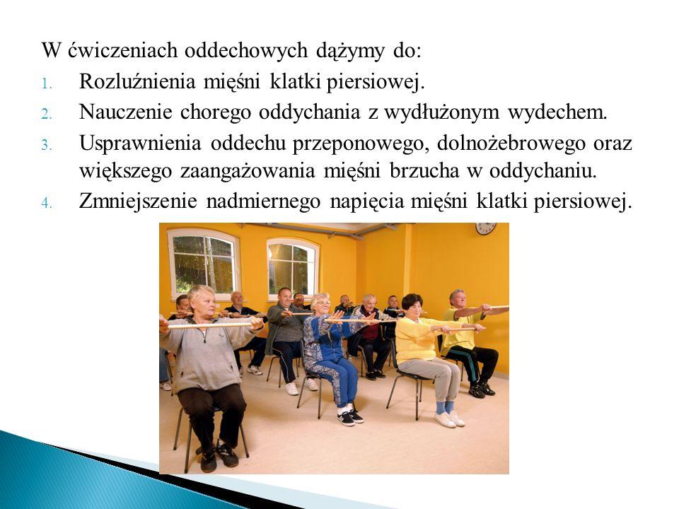 W ćwiczeniach oddechowych dążymy do: