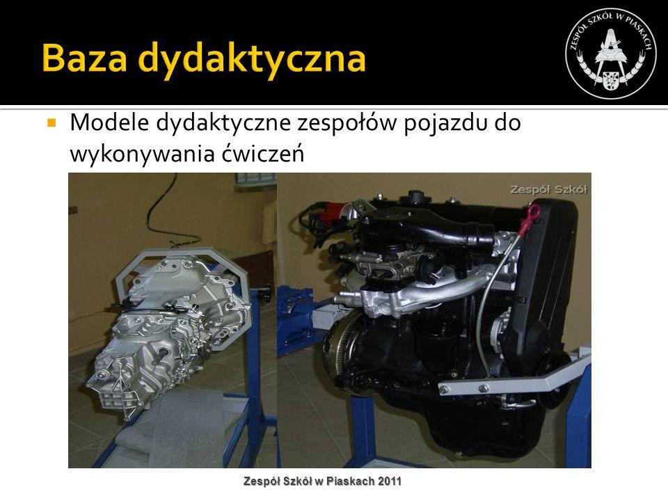 Baza dydaktyczna Modele dydaktyczne zespołów pojazdu do wykonywania ćwiczeń.