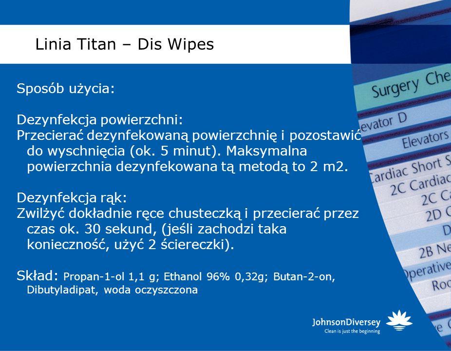 Linia Titan – Dis Wipes Sposób użycia: Dezynfekcja powierzchni: