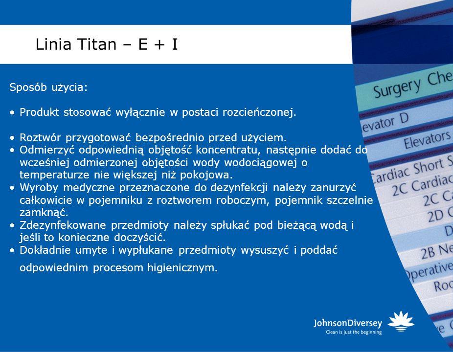 Linia Titan – E + I Sposób użycia: