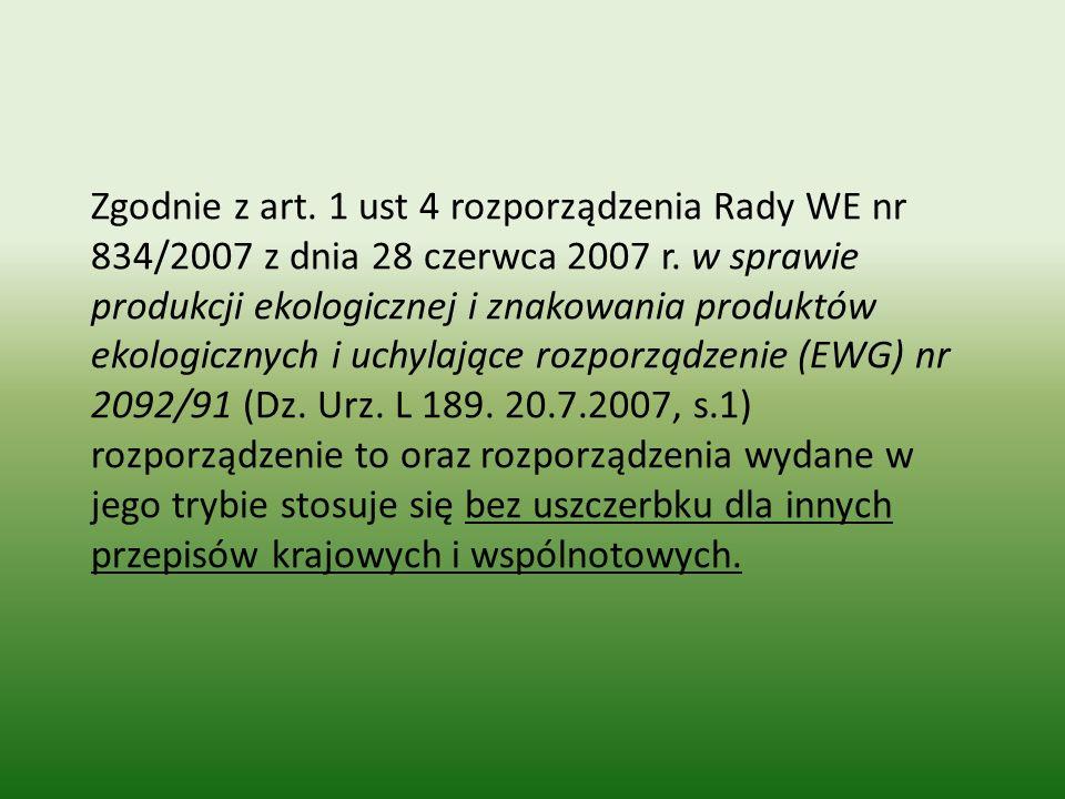 Zgodnie z art. 1 ust 4 rozporządzenia Rady WE nr 834/2007 z dnia 28 czerwca 2007 r.