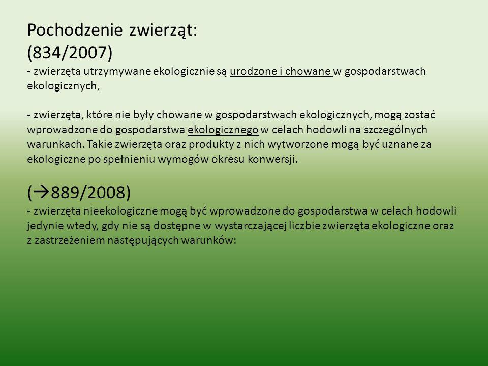 Pochodzenie zwierząt: (834/2007)