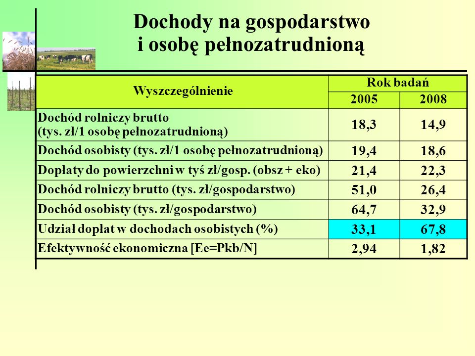 Dochody na gospodarstwo i osobę pełnozatrudnioną