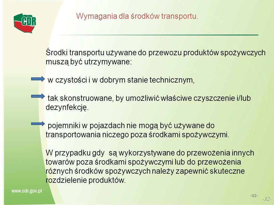 Wymagania dla środków transportu