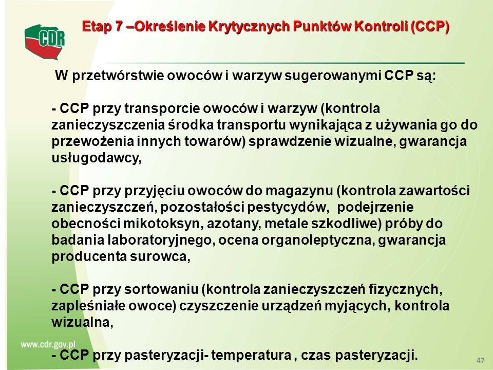 Etap 7 –Określenie Krytycznych Punktów Kontroli (CCP)