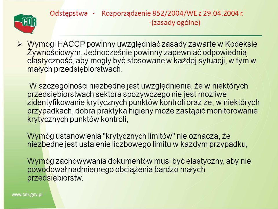 Odstępstwa - Rozporządzenie 852/2004/WE z 29. 04. 2004 r