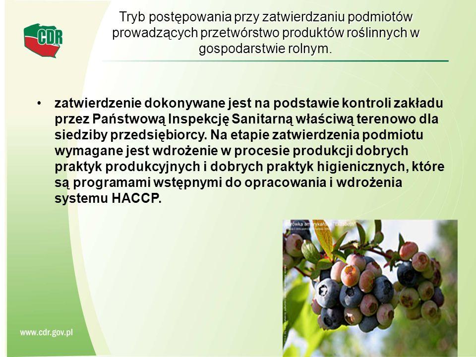 Tryb postępowania przy zatwierdzaniu podmiotów prowadzących przetwórstwo produktów roślinnych w gospodarstwie rolnym.