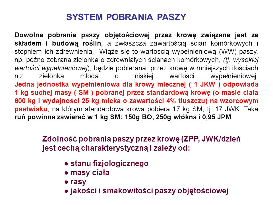 SYSTEM POBRANIA PASZY