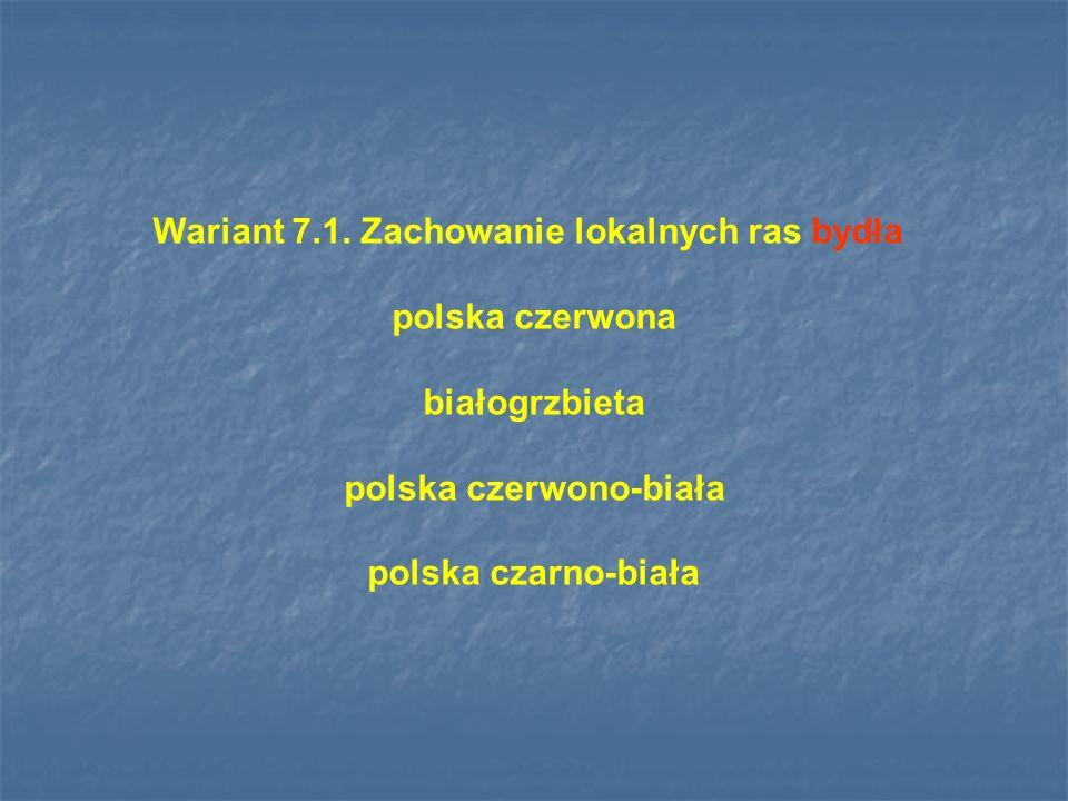 Wariant 7.1. Zachowanie lokalnych ras bydła polska czerwono-biała