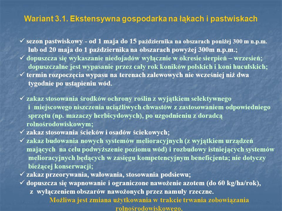 Wariant 3.1. Ekstensywna gospodarka na łąkach i pastwiskach