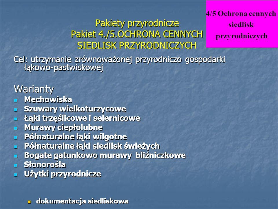 4/5 Ochrona cennych siedlisk. przyrodniczych. Pakiety przyrodnicze Pakiet 4./5.OCHRONA CENNYCH SIEDLISK PRZYRODNICZYCH.