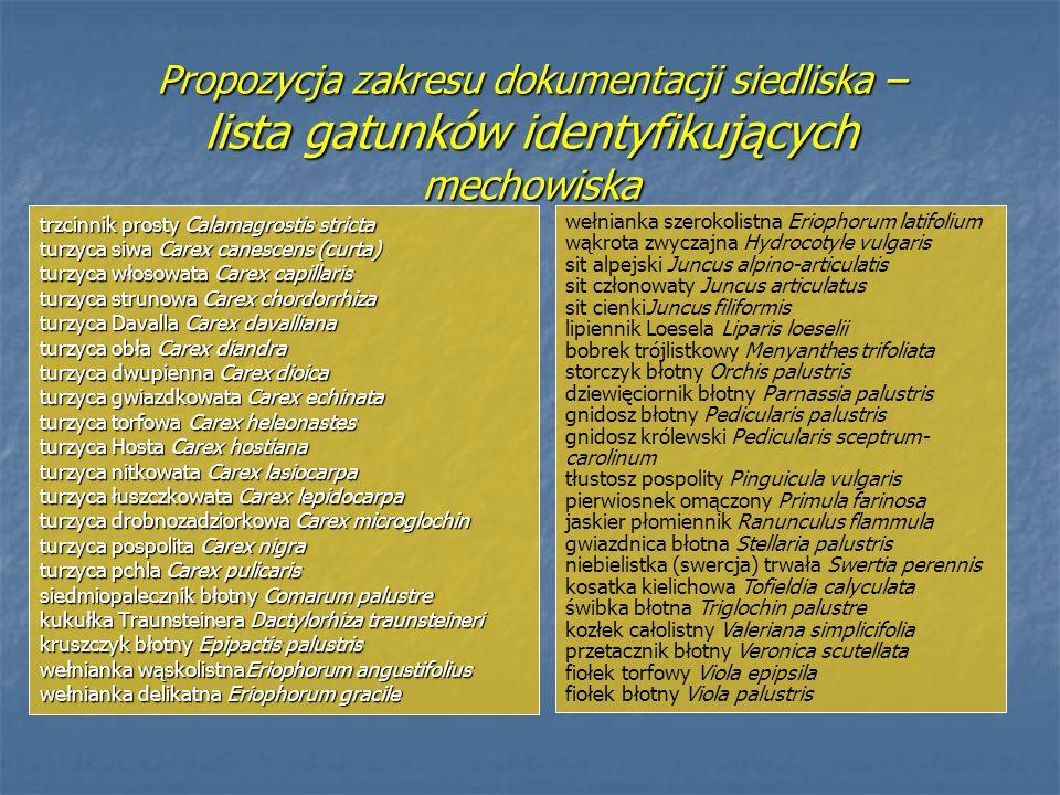 Propozycja zakresu dokumentacji siedliska – lista gatunków identyfikujących mechowiska