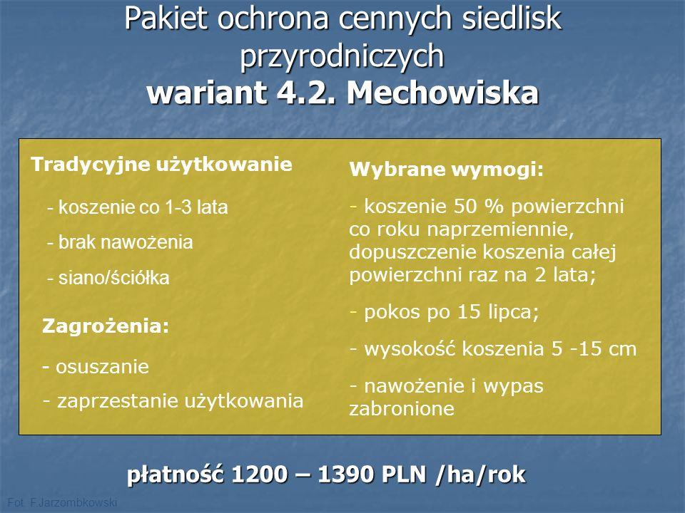 Pakiet ochrona cennych siedlisk przyrodniczych wariant 4.2. Mechowiska