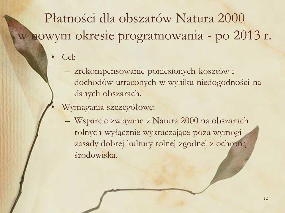 Płatności dla obszarów Natura 2000 w nowym okresie programowania - po 2013 r.