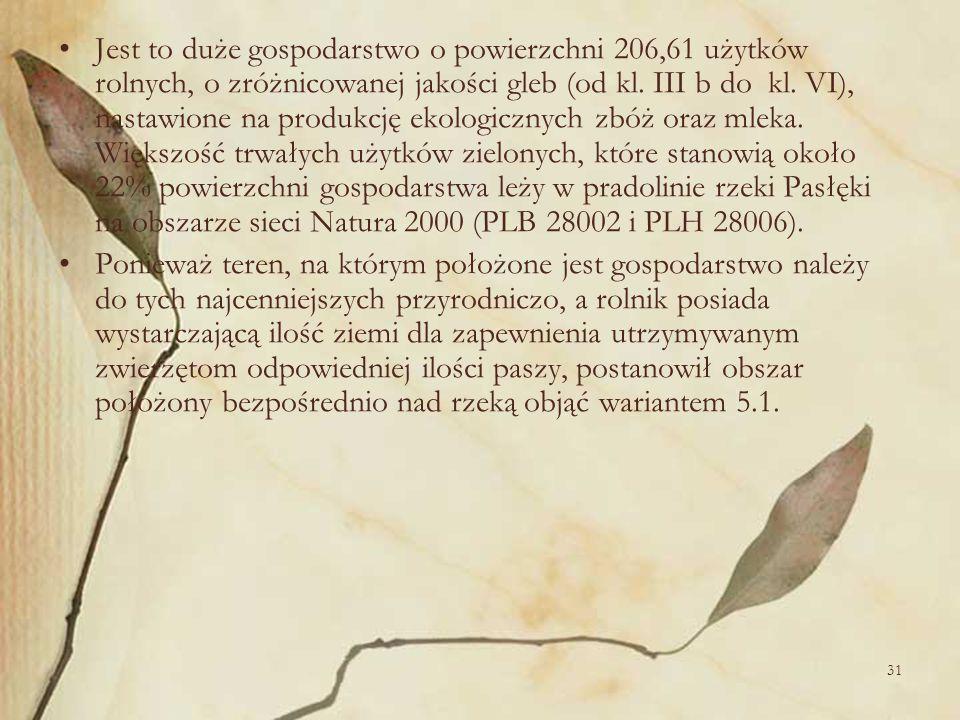 Jest to duże gospodarstwo o powierzchni 206,61 użytków rolnych, o zróżnicowanej jakości gleb (od kl. III b do kl. VI), nastawione na produkcję ekologicznych zbóż oraz mleka. Większość trwałych użytków zielonych, które stanowią około 22% powierzchni gospodarstwa leży w pradolinie rzeki Pasłęki na obszarze sieci Natura 2000 (PLB 28002 i PLH 28006).
